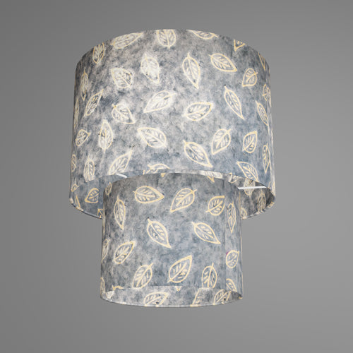 2 Tier Lamp Shade - P31 - Batik Leaf on Blue, 30cm x 20cm & 20cm x 15cm