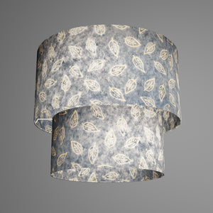 2 Tier Lamp Shade - P31 - Batik Leaf on Blue, 40cm x 20cm & 30cm x 15cm
