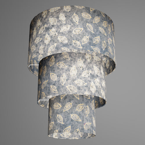 3 Tier Lamp Shade - P31 - Batik Leaf on Blue, 40cm x 20cm, 30cm x 17.5cm & 20cm x 15cm