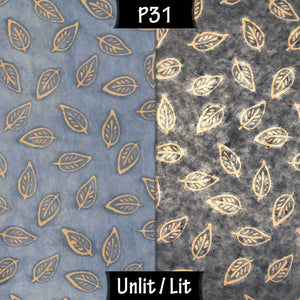 Drum Lamp Shade - P31 - Batik Leaf on Blue, 15cm(d) x 20cm(h) - Imbue Lighting