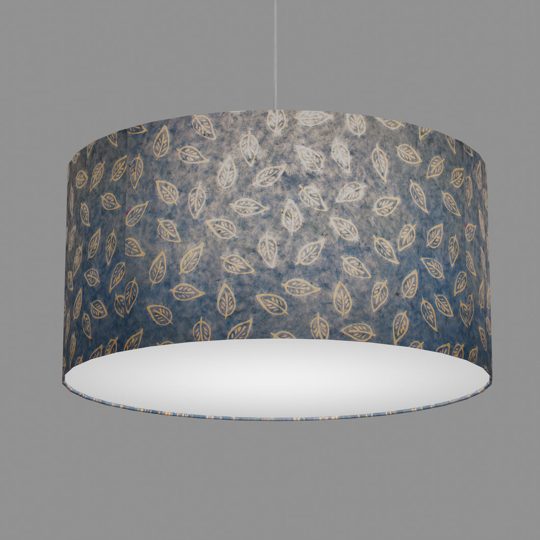 Drum Lamp Shade - P31 - Batik Leaf on Blue, 60cm(d) x 30cm(h)