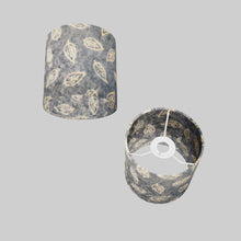 Drum Lamp Shade - P31 - Batik Leaf on Blue, 15cm(d) x 15cm(h)