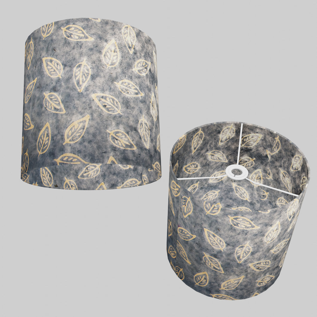 Drum Lamp Shade - P31 - Batik Leaf on Blue, 30cm(d) x 30cm(h)