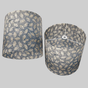 Drum Lamp Shade - P31 - Batik Leaf on Blue, 40cm(d) x 40cm(h)