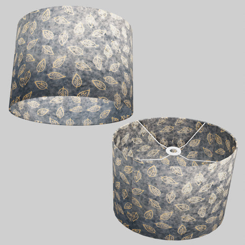 Oval Lamp Shade - P31 - Batik Leaf on Blue, 40cm(w) x 30cm(h) x 30cm(d)