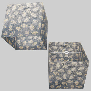 Square Lamp Shade - P31 - Batik Leaf on Blue, 40cm(w) x 40cm(h) x 40cm(d)