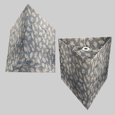 Triangle Lamp Shade - P31 - Batik Leaf on Blue, 40cm(w) x 40cm(h)