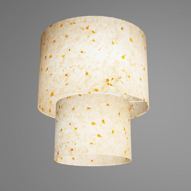 2 Tier Lamp Shade - P32 - Marigold Petals on Natural Lokta, 30cm x 20cm & 20cm x 15cm