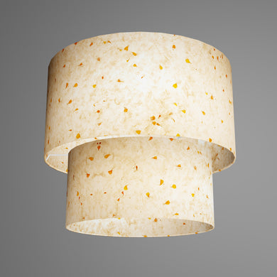 2 Tier Lamp Shade - P32 - Marigold Petals on Natural Lokta, 40cm x 20cm & 30cm x 15cm