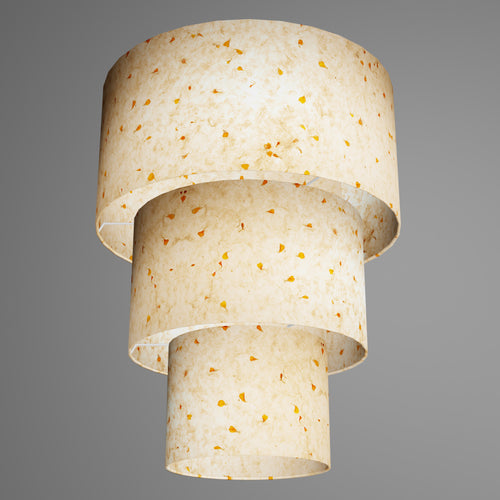 3 Tier Lamp Shade - P32 - Marigold Petals on Natural Lokta, 40cm x 20cm, 30cm x 17.5cm & 20cm x 15cm