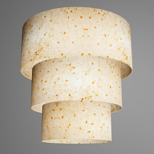 3 Tier Lamp Shade - P32 - Marigold Petals on Natural Lokta, 50cm x 20cm, 40cm x 17.5cm & 30cm x 15cm