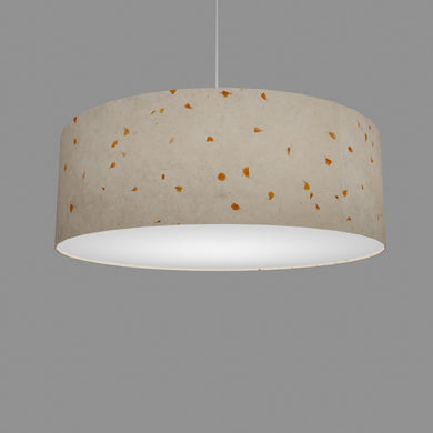 Drum Lamp Shade - P32 - Marigold Petals on Natural Lokta, 60cm(d) x 20cm(h)