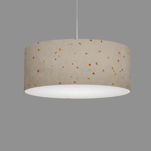 Drum Lamp Shade - P32 - Marigold Petals on Natural Lokta, 50cm(d) x 20cm(h)