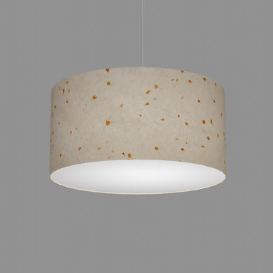 Drum Lamp Shade - P32 - Marigold Petals on Natural Lokta, 50cm(d) x 25cm(h)