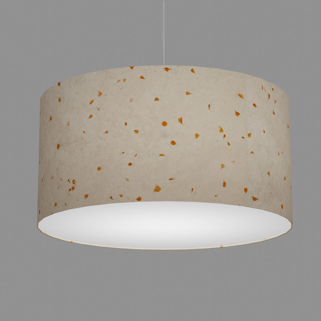 Drum Lamp Shade - P32 - Marigold Petals on Natural Lokta, 60cm(d) x 30cm(h)