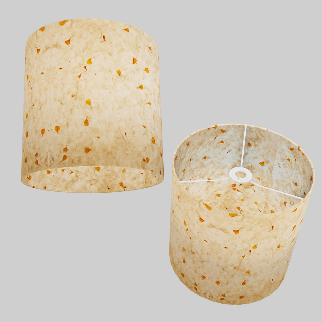 Drum Lamp Shade - P32 - Marigold Petals on Natural Lokta, 30cm(d) x 30cm(h)