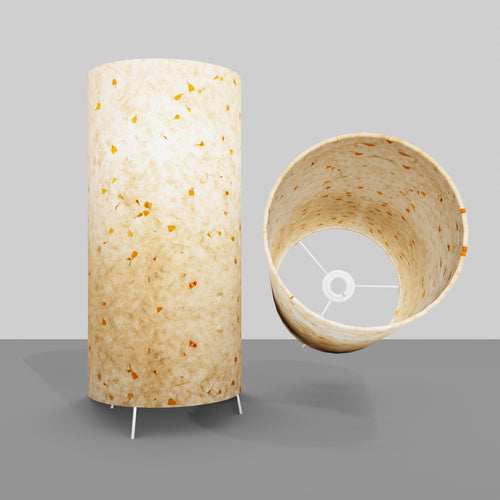 Free Standing Table Lamp Large - P32 ~ Marigold Petals on Natural Lokta