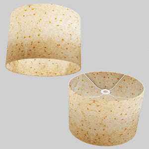 Oval Lamp Shade - P32 - Marigold Petals on Natural Lokta, 40cm(w) x 30cm(h) x 30cm(d)