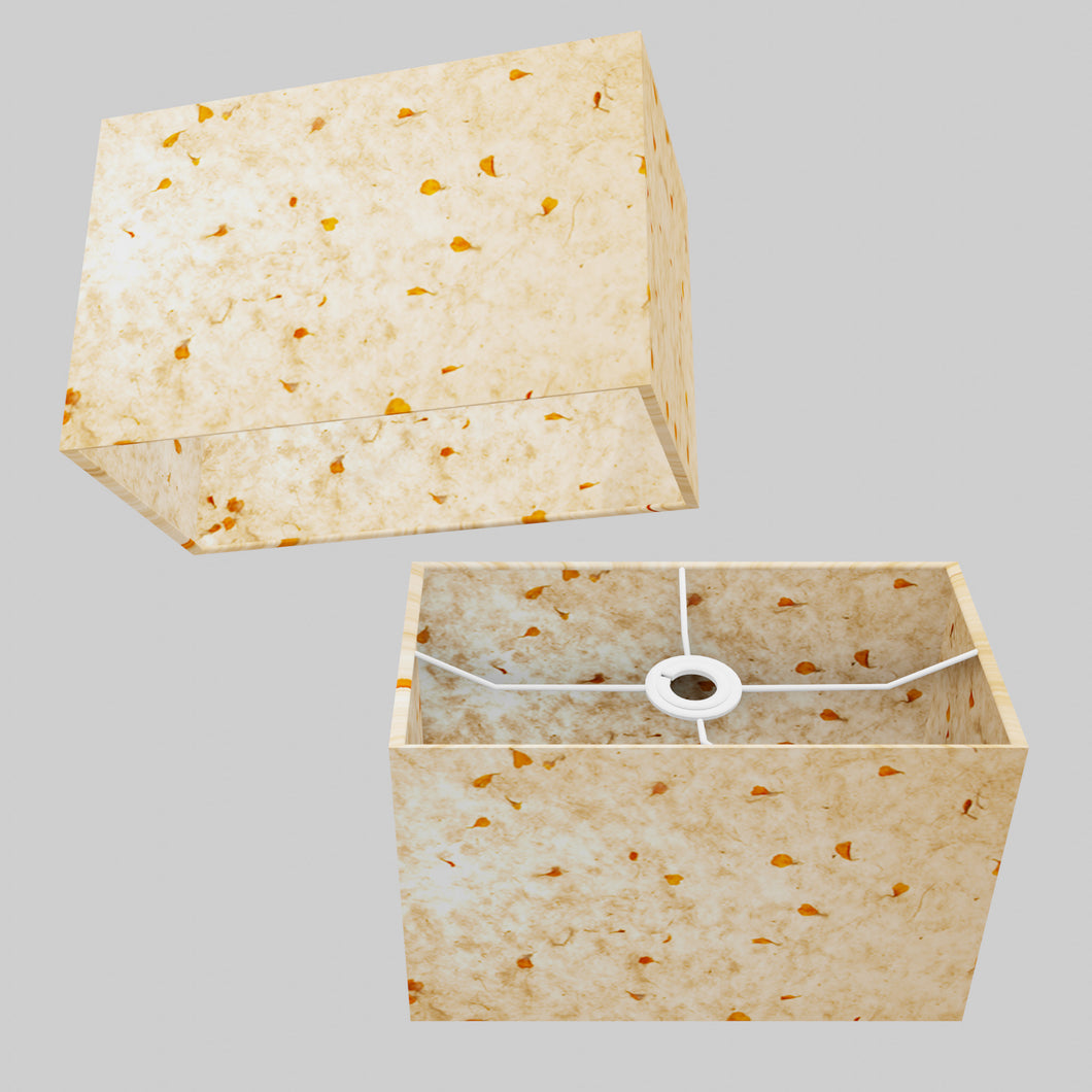 Rectangle Lamp Shade - P32 - Marigold Petals on Natural Lokta, 30cm(w) x 20cm(h) x 15cm(d)