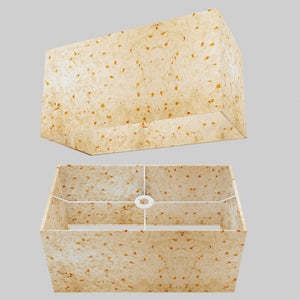 Rectangle Lamp Shade - P32 - Marigold Petals on Natural Lokta, 50cm(w) x 25cm(h) x 25cm(d)