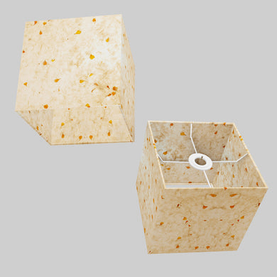 Square Lamp Shade - P32 - Marigold Petals on Natural Lokta, 20cm(w) x 20cm(h) x 20cm(d)