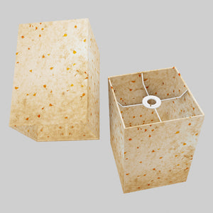 Square Lamp Shade - P32 - Marigold Petals on Natural Lokta, 20cm(w) x 30cm(h) x 20cm(d)