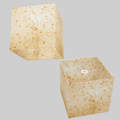 Square Lamp Shade - P32 - Marigold Petals on Natural Lokta, 30cm(w) x 30cm(h) x 30cm(d)