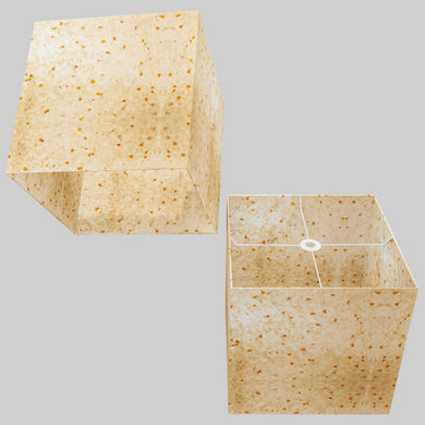 Square Lamp Shade - P32 - Marigold Petals on Natural Lokta, 40cm(w) x 40cm(h) x 40cm(d)