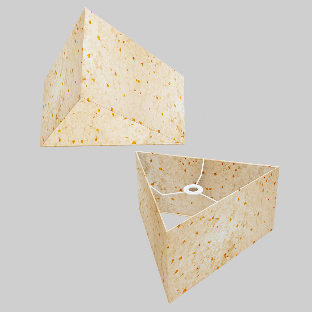 Triangle Lamp Shade - P32 - Marigold Petals on Natural Lokta, 40cm(w) x 20cm(h)