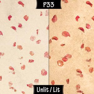 Drum Floor Lamp - P33 - Rose Petals on Natural Lokta, 22cm(d) x 114cm(h) - Imbue Lighting