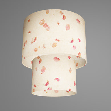 2 Tier Lamp Shade - P33 - Rose Petals on Natural Lokta, 30cm x 20cm & 20cm x 15cm