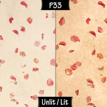 Drum Lamp Shade - P33 - Rose Petals on Natural Lokta, 15cm(d) x 30cm(h) - Imbue Lighting