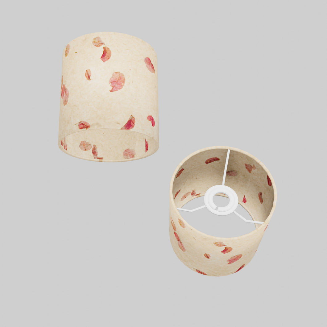 Drum Lamp Shade - P33 - Rose Petals on Natural Lokta, 15cm(d) x 15cm(h)