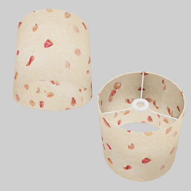Drum Lamp Shade - P33 - Rose Petals on Natural Lokta, 25cm x 25cm