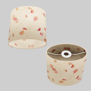 Oval Lamp Shade - P33 - Rose Petals on Natural Lokta, 20cm(w) x 20cm(h) x 13cm(d)
