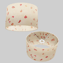 Oval Lamp Shade - P33 - Rose Petals on Natural Lokta, 30cm(w) x 20cm(h) x 22cm(d)