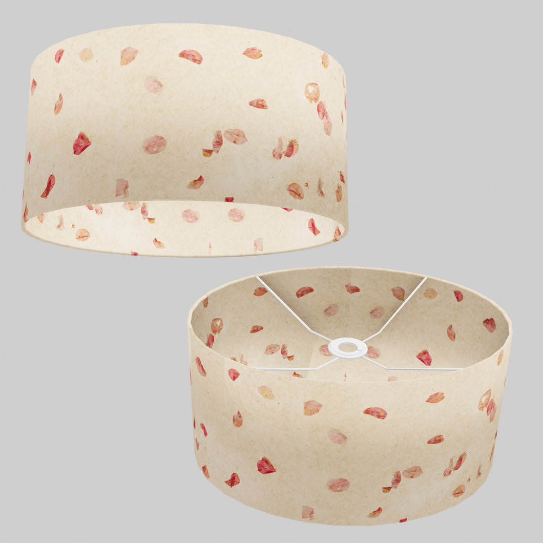 Oval Lamp Shade - P33 - Rose Petals on Natural Lokta, 40cm(w) x 20cm(h) x 30cm(d)