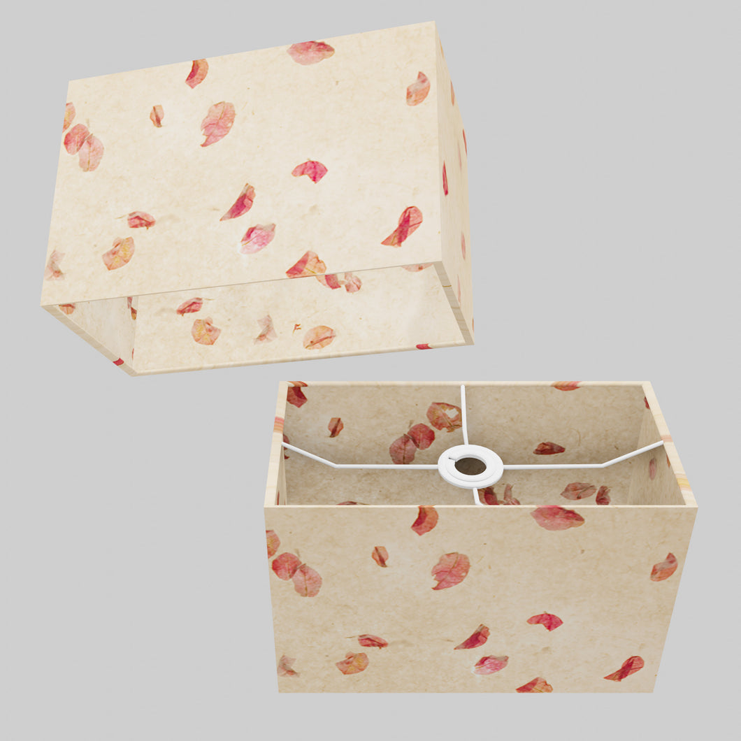 Rectangle Lamp Shade - P33 - Rose Petals on Natural Lokta, 30cm(w) x 20cm(h) x 15cm(d)