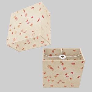 Rectangle Lamp Shade - P33 - Rose Petals on Natural Lokta, 30cm(w) x 30cm(h) x 15cm(d)