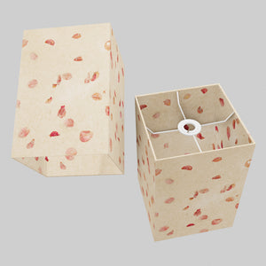 Square Lamp Shade - P33 - Rose Petals on Natural Lokta, 20cm(w) x 30cm(h) x 20cm(d)