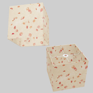 Square Lamp Shade - P33 - Rose Petals on Natural Lokta, 30cm(w) x 30cm(h) x 30cm(d)