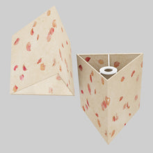 Triangle Lamp Shade - P33 - Rose Petals on Natural Lokta, 20cm(w) x 20cm(h)