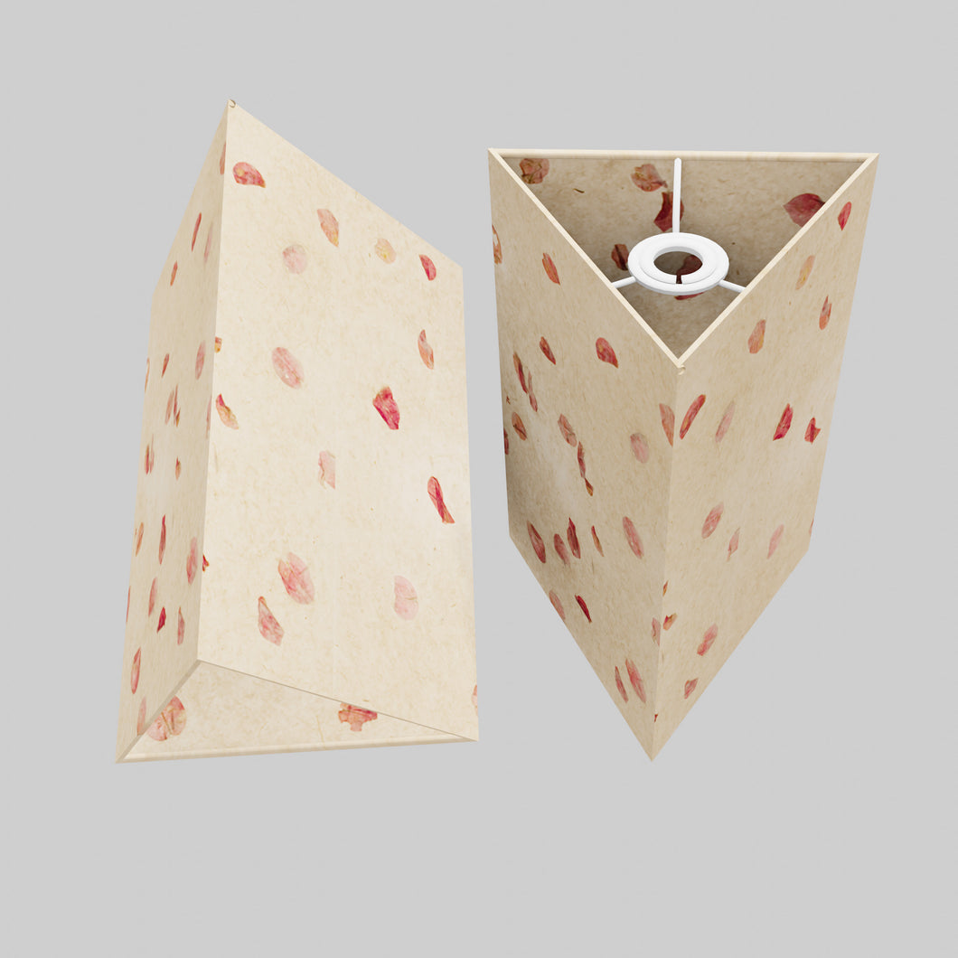 Triangle Lamp Shade - P33 - Rose Petals on Natural Lokta, 20cm(w) x 30cm(h)