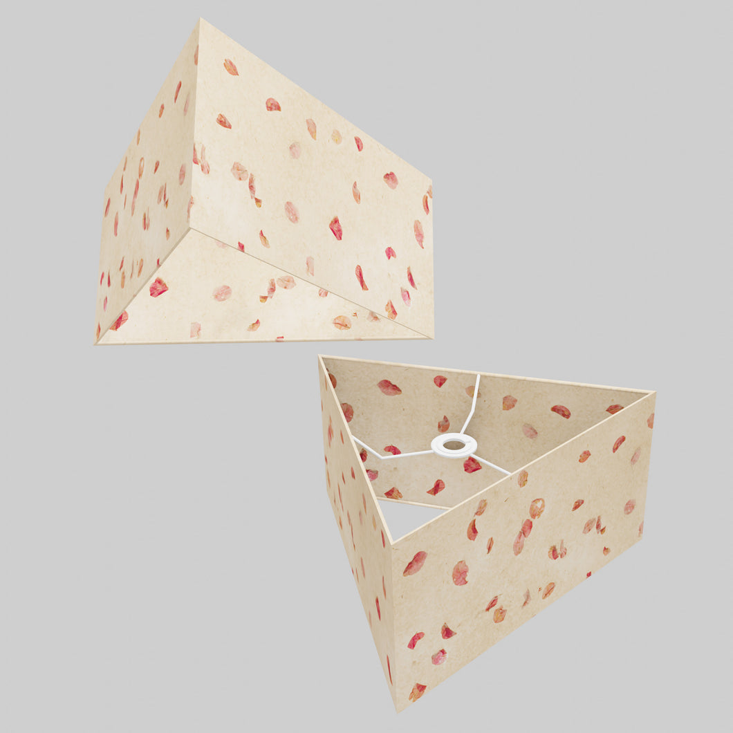 Triangle Lamp Shade - P33 - Rose Petals on Natural Lokta, 40cm(w) x 20cm(h)