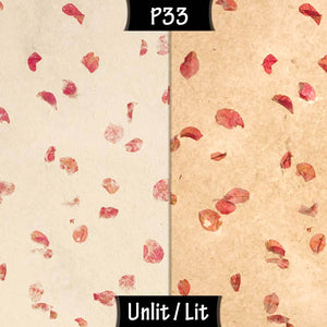 Drum Lamp Shade - P33 - Rose Petals on Natural Lokta, 40cm(d) x 20cm(h) - Imbue Lighting