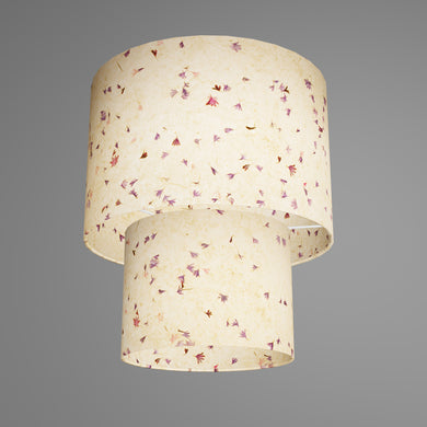2 Tier Lamp Shade - P34 - Cornflower Petals on Natural Lokta, 30cm x 20cm & 20cm x 15cm