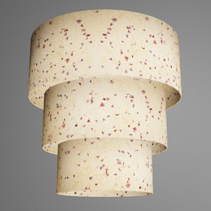 3 Tier Lamp Shade - P34 - Cornflower Petals on Natural Lokta, 50cm x 20cm, 40cm x 17.5cm & 30cm x 15cm