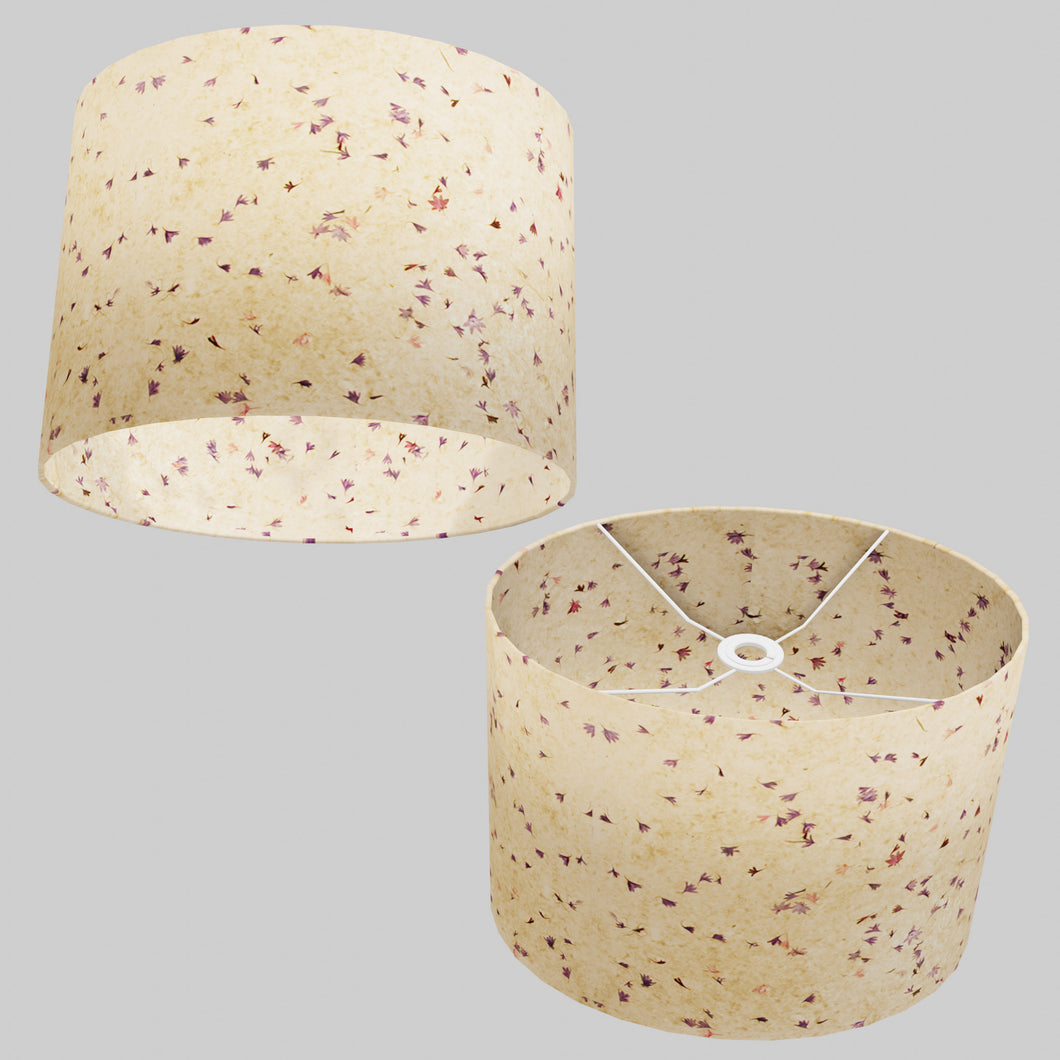 Oval Lamp Shade - P34 - Cornflower Petals on Natural Lokta, 40cm(w) x 30cm(h) x 30cm(d)