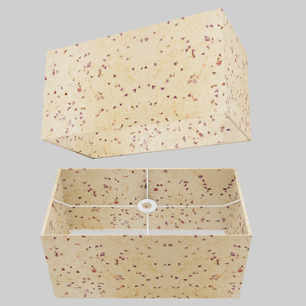 Rectangle Lamp Shade - P34 - Cornflower Petals on Natural Lokta, 50cm(w) x 25cm(h) x 25cm(d)