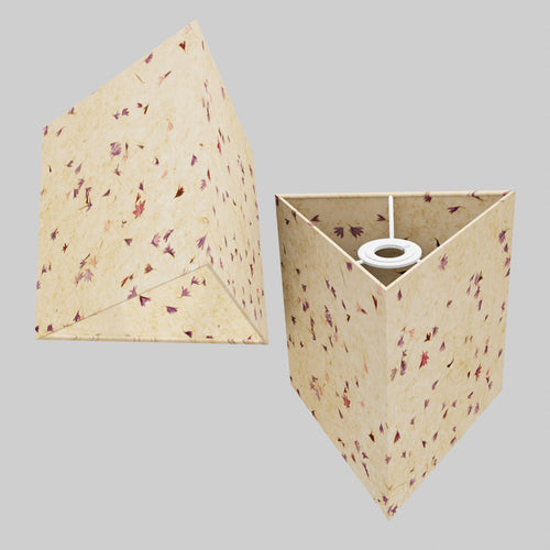 Triangle Lamp Shade - P34 - Cornflower Petals on Natural Lokta, 20cm(w) x 20cm(h)